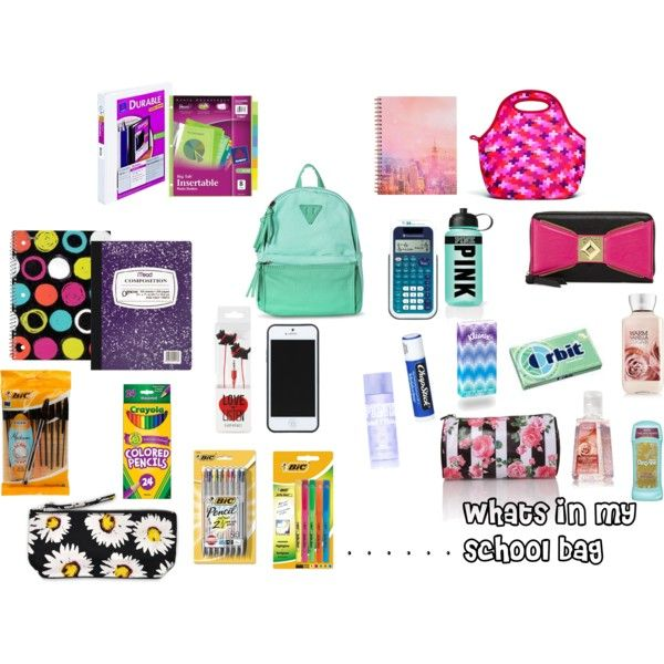 """whats in my school bag"" by samyawalton on Polyvore"
