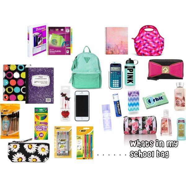 """whats in my school bag"" by samyawalton on Polyvore"