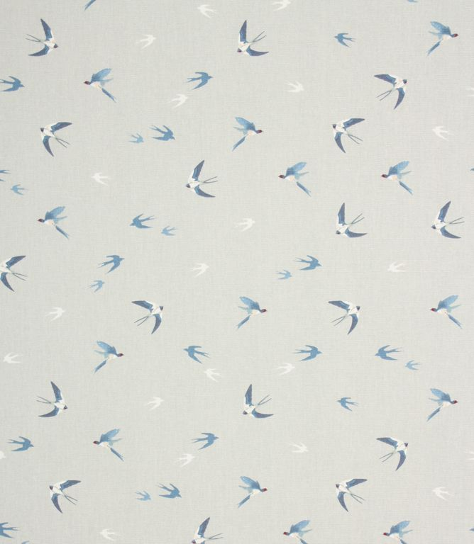 Sophie Allport Swallow Fabric / Sky pretty watercolour style birds print fabric