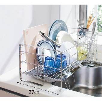 わずか約17cmの幅に置けて、洗い物の量に合わせて伸び縮み!シンク横の狭いスペースに収まるスリムサイズの水切りカゴです。