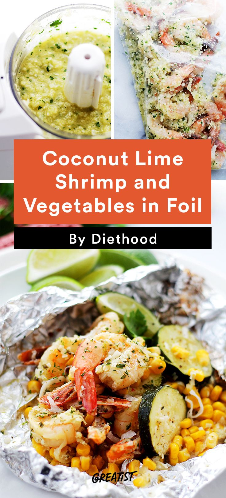 1. Coconut Lime Shrimp and Vegetables in Foil #foilpacket #recipes http://greatist.com/eat/foil-packet-recipes-for-easy-cleanup