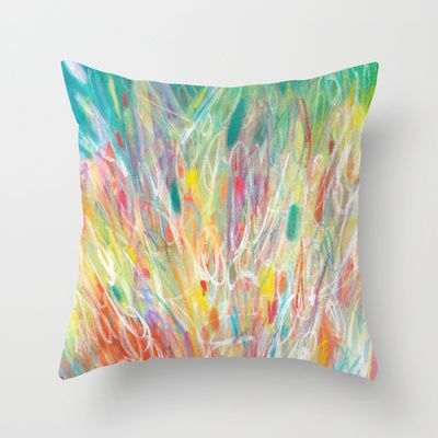 Colorful abstract pillow by Jessica Torrant on Society6.