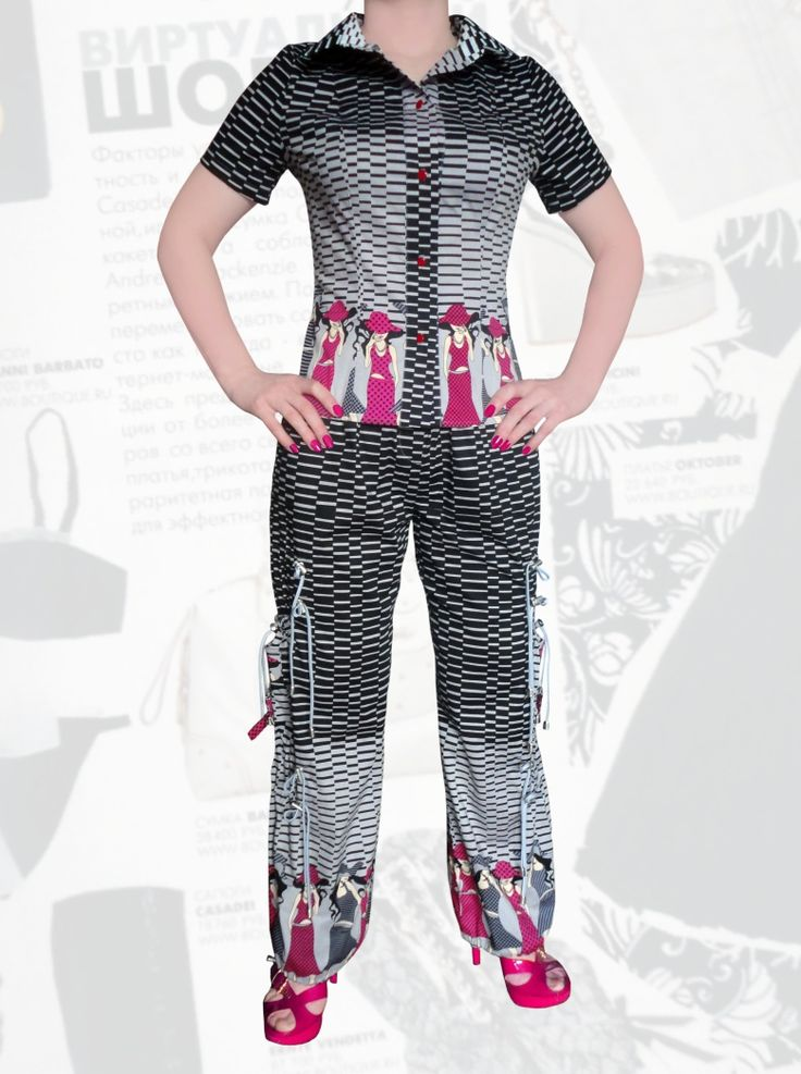 62$ Летний брючный костюм для полных девушек из стрейч-поплина со стильным принтом Артикул 673, р50-64 Женские костюмы большие размеры  Женские костюмы с брюками большие размеры  Летний брючный костюм большие размеры