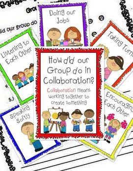 Six adorable posters teach collaboration (team work) skills. Also included is a fun simple chart that helps students evaluate how well they work in groups by circling a smiley, plain, or frown face next to each item such as listening to each other and taking turns. There is also a section for them to reflect on what went well and what areas could use improvement. #assessments #groupwork #TeacherGems #TpT
