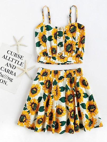 Sunflower Print Random Crop Cami Top With Skirt