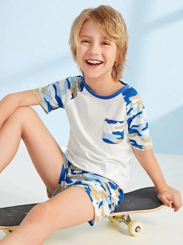 Boys Raglan Sleeve Pocket Detail Camo Top & Shorts PJ Set – Kidenhouse