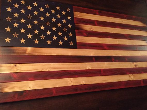 Rustic American Flag Old Glory Flag Wood by AmericanGruntUSA