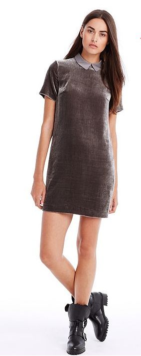 This modest proposal from A/X Armani Exchange will appeal to young girls - you can wear it with both heavy boots or high heels or sandals. Sexy but classy! Velvet Shift Dress ($148).