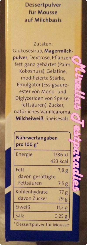 Die Inhaltsstoffe vom Diamant Moussezauber mit Milch aus der Degustabox November 2014.