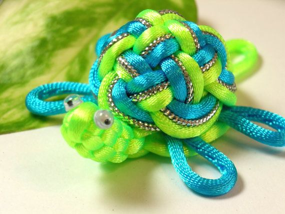 Chinese Knots Turtle   Chinese Knot Sea Turtle Keychain - Bright Green & Sky Blue - as ...