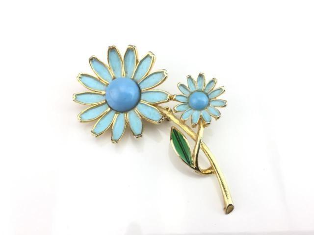 Weiss vintage blue daisy gold tone brooch | eBay