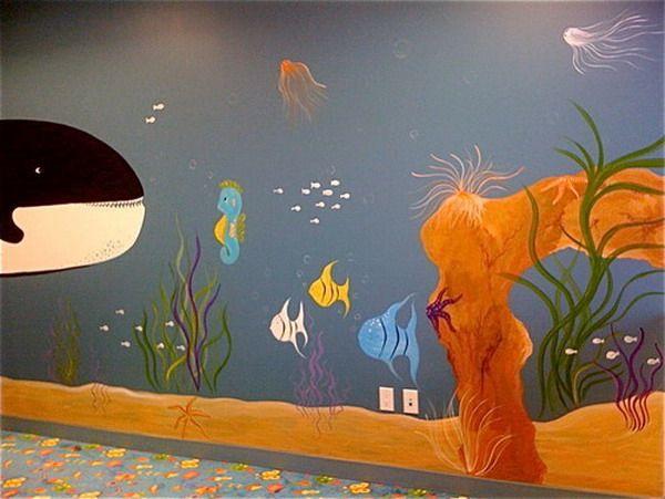 Kids murals project best creativity aquarium murals for Aquarium mural wallpaper