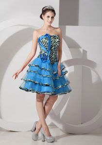 Zebra Teal A-line Strapless Knee-length Prom Dress with Ruffled Layers