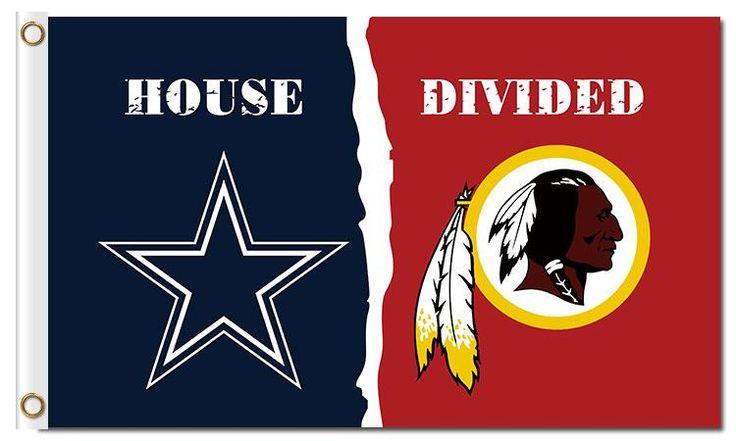 Dallas Cowboys and Washington Redskins: House Divided Flag; 3'x5'