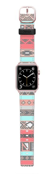 Casetify Apple Watch Band (42mm) Saffiano Leather Watch Band - Coral Peach Aqua Aztec Boho Chic Native Tribal Pattern by Avawilde.com