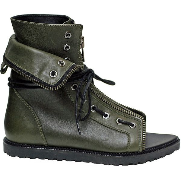 Mirte Laced Zip Flat Boot Olive (5 596 SEK) ❤ liked on Polyvore featuring shoes, boots, ankle booties, ankle boots, women, flat leather booties, lace up boots, leather boots, flat booties and short boots