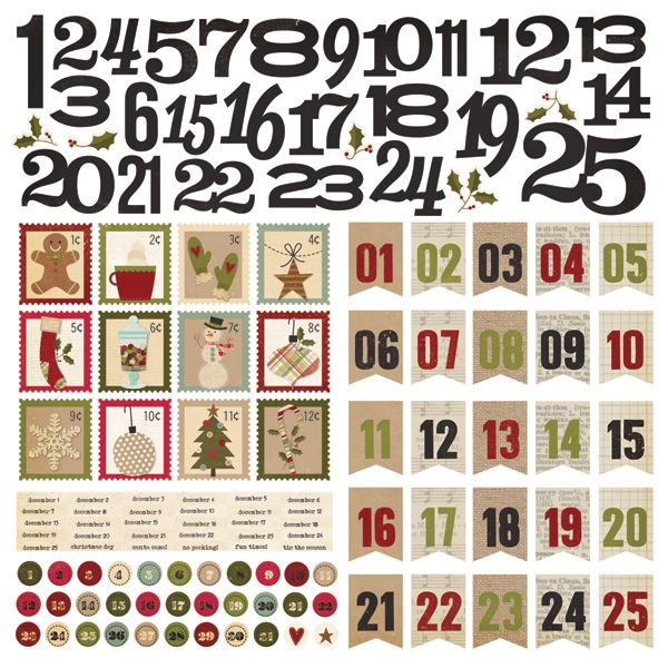 Simple Stories - Handmade Holiday Collection - Christmas - 12 x 12 Cardstock Stickers - Countdown at Scrapbook.com $2.99