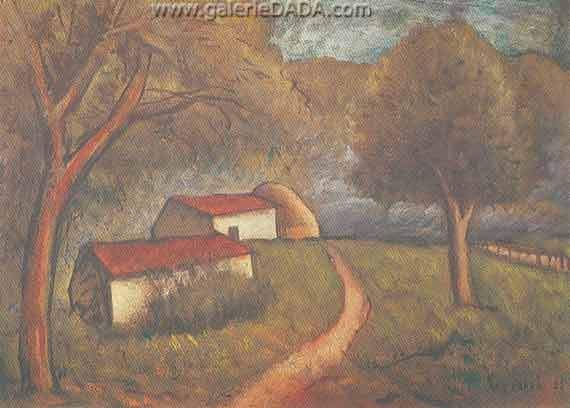 Carlo Carra,  A Cottage Fine Art Reproduction Oil Painting