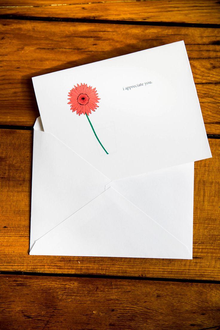 Printable Appreciation Card Download, Gerbera, I Appreciate You, Gift Idea, Flower Card, Minimalist, Original Illustration by PurpleTurtleandCo on Etsy https://www.etsy.com/ca/listing/576987000/printable-appreciation-card-download