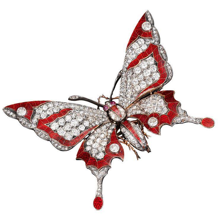 Victorian Diamond Butterfly Tremblant Brooch Circa 1890