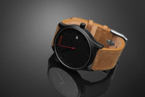 MVMT Black Face Stainless Steel Watch with Tan Leather Strap | MVMT Watches