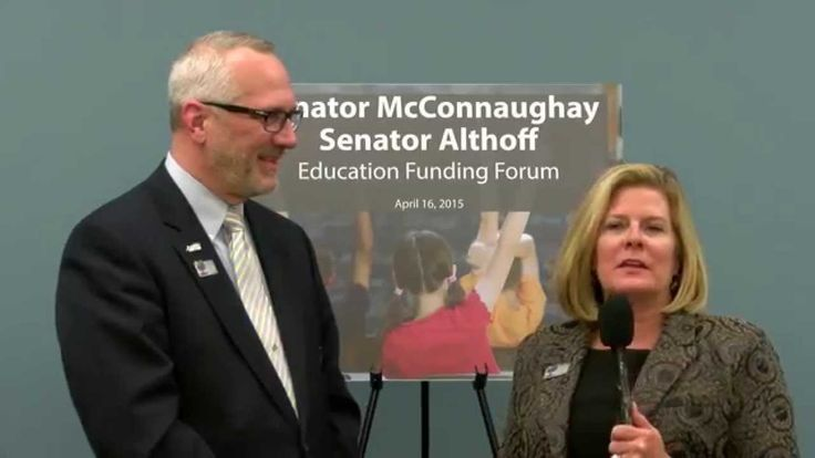 Senator Karen McConnaughay with Dr. Mike Jacoby.