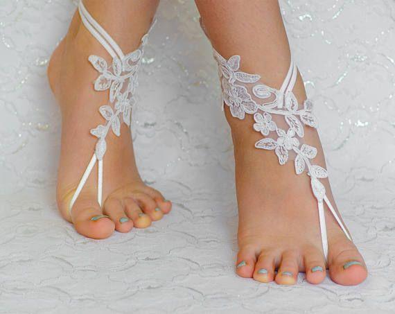 Witte Lace barefoot sandals strand bruiloft schoenen