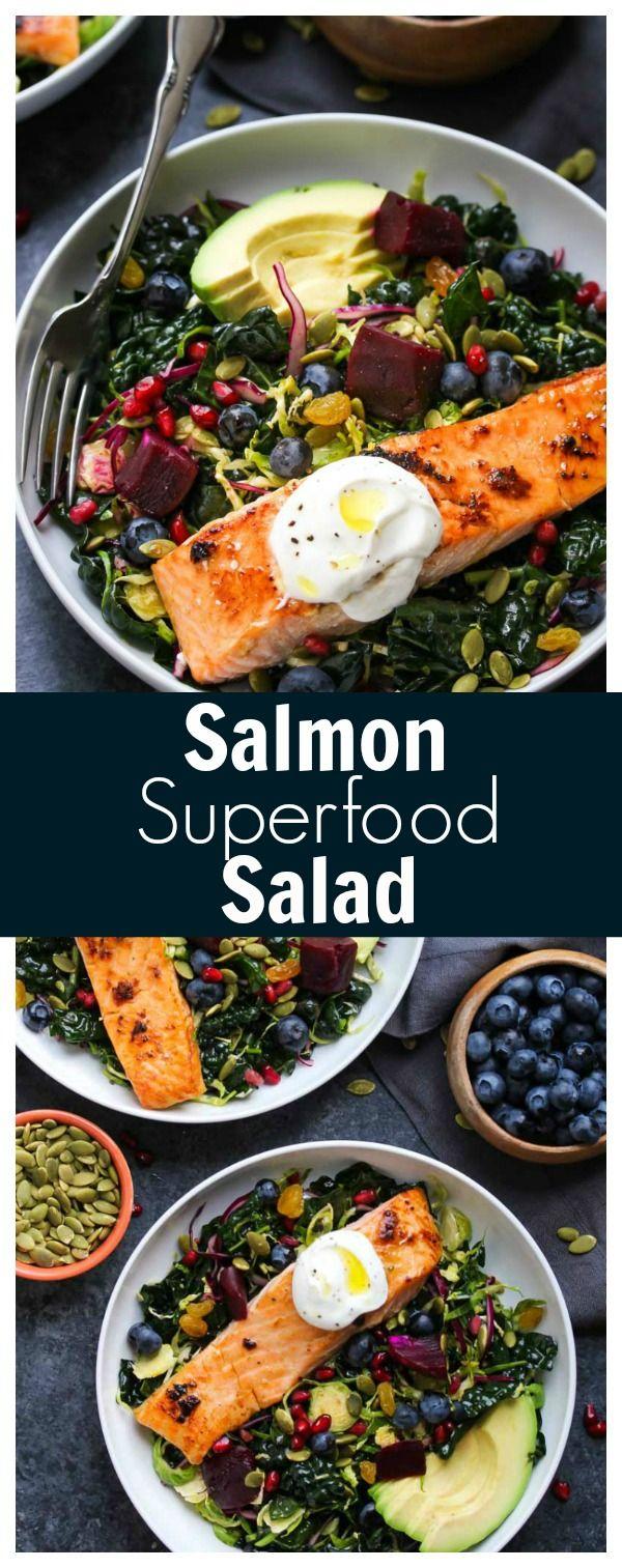 Salmon Superfood Salad (gluten free, dairy free) | dishingouthealth.com