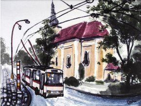 Trolejbus v HK - obraz na plátně