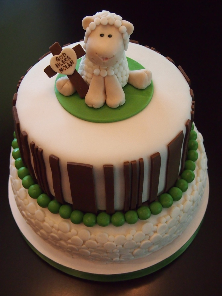 Little Lamb Baptism Cake by Olive Parties