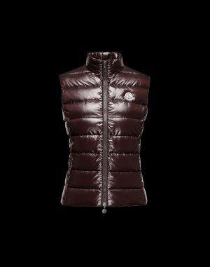 MONCLER Ghany. Down Vest, Jacket Dress, Women's Vests, Dark Brown ...