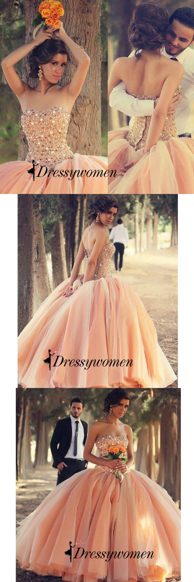 long prom dresses 2016, strapless prom dresses, ball gown, light orange prom dresses with beaded