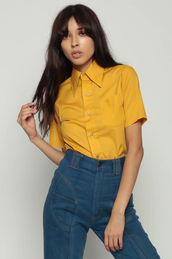 Knop omhoog Shirt 70s Shirt YellowBlouse Hippie Boho jaren