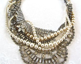 Hecho a la medida collar nupcial, diamantes de imitación de perlas collar, collar de declaración nupcial, boda Vintage collar, collar de declaración del Rhinestone