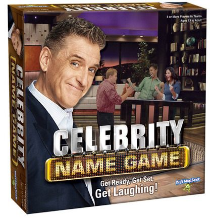 "Celebrity Name Game®  Get Ready, Get Set, Get Laughing!   Now you can play the fabulously fun game, just like they do on TV! Celebrity Name Game is a blast: You get the names of celebrities, characters, famous places, etc., and you make up clues to get your team to guess the names! Like, if you had the name Craig Ferguson, you might say, ""funny guy, tall, wears some wild suits when he hosts Celebrity Name Game!"" Just don't forget to hurry; it's a race against the clock to see how many points"