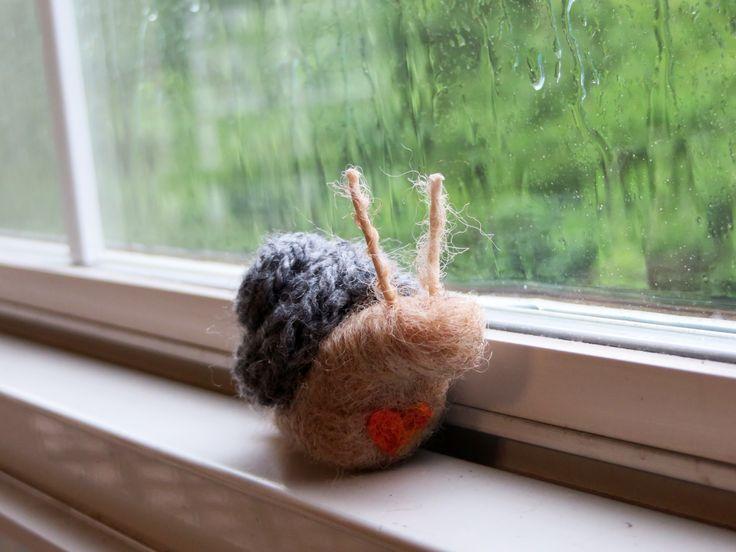The snail in the rain needle felt