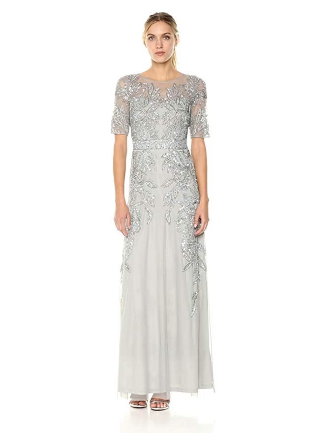 Adrianna Papell Women S 3 4 Sleev Long Beaded Dress Gown Blue Mist 4 At Amazon Women S Clothing Store Beaded Gown Godet Dress Beaded Evening Gowns