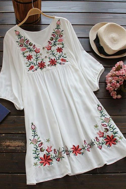 Cupshe Free Spirit Floral Embroidery Dress | I like the embroidery on the skirt.  Could I get a similar effect with stencils or stamps?