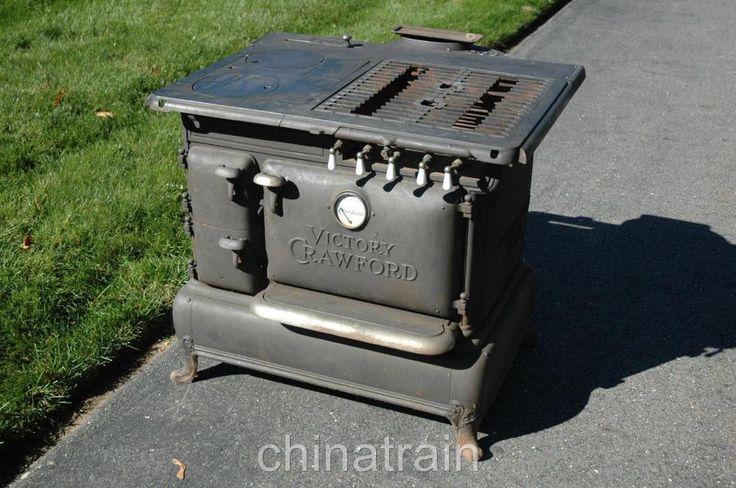 Antique Walker Pratt Crawford Victory Cast Iron Wood Coal