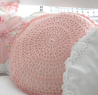 pink lacy round crochet pillow