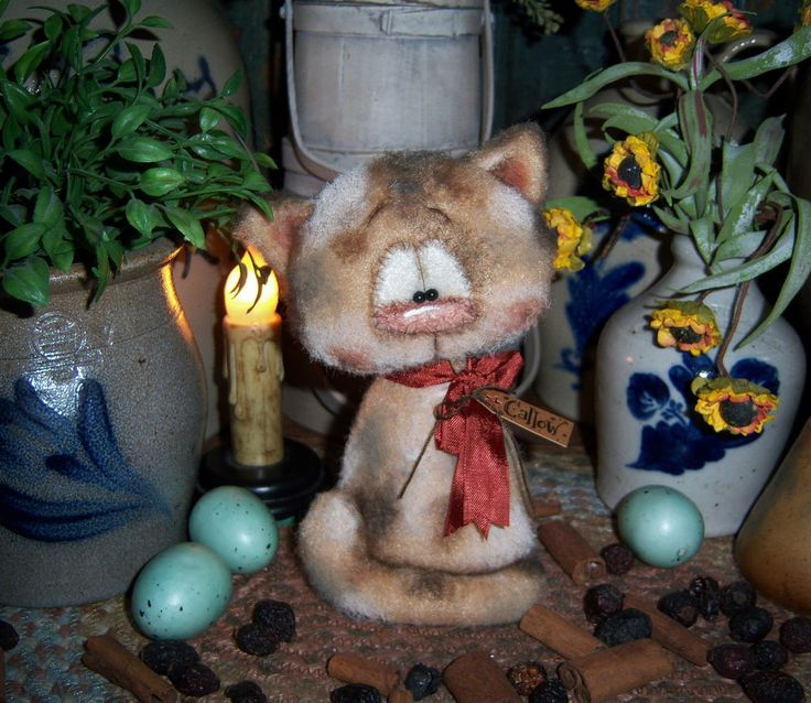 "Primitive Calico Fuzzy Kitten Cat 5"" Doll Vtg Patti's Ratties Bear Artist OOAK"