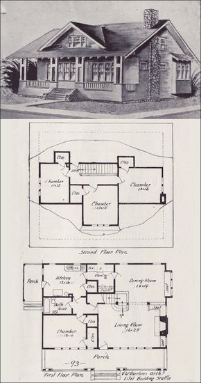 1908 Western Home Builder - No. 93 cool floor plan for a earth bag home but the top and bottom floors would have to be reversed... bottom floor underground