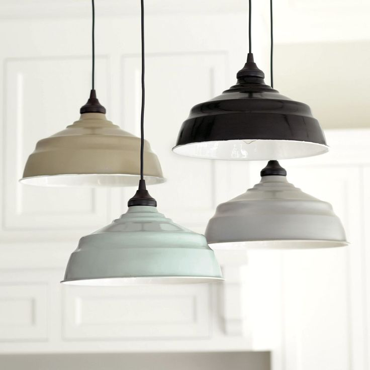 "I love the ""spa"" colored white lined enamel one. Large Industrial Metal Shade with Adapter for Recessed Can Lights. at Ballard Designs"