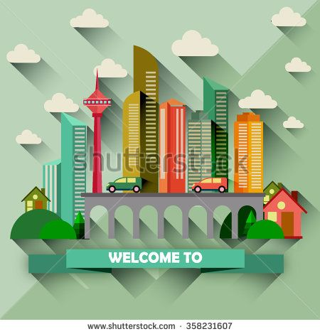 Flat design city vector illustration - stock vector