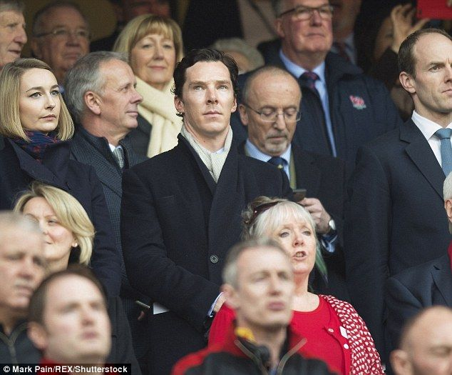 A-list supporter: Benedict Cumberbatch joined a star-studded crowd including Prince Harry to watch England v Wales at Twickenham on Saturday