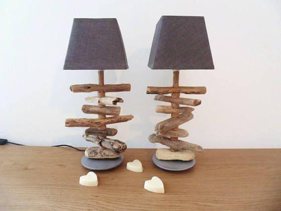 lot de 2 lampes bois flotté  chevets  socle argent rond