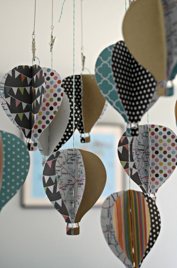 DIY Paper Hot Air Balloon Baby Mobile