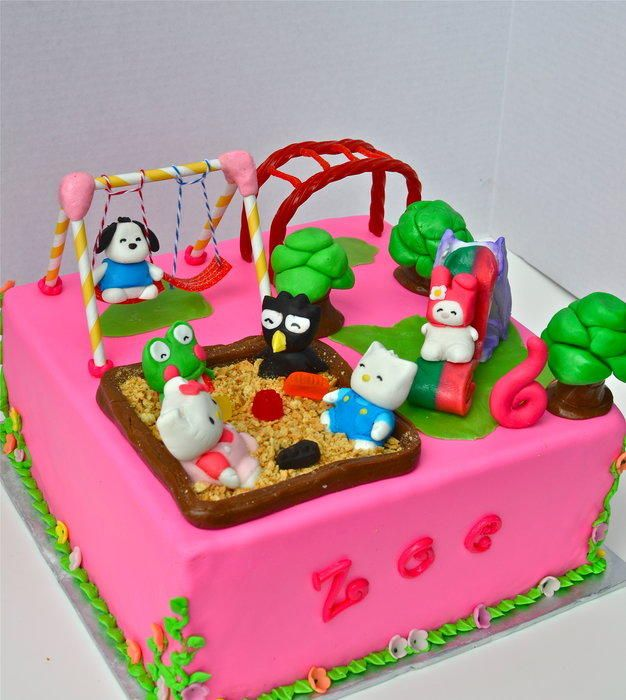 Hello Kitty and Friends at the  Candy Park - Cake by CrystalMemories