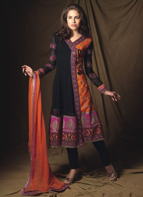 Stunning Black And Orange Churidar Suit More