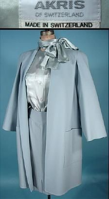 Pale blue skirt, blouse and coat by Akris of Switzerland, 1980s